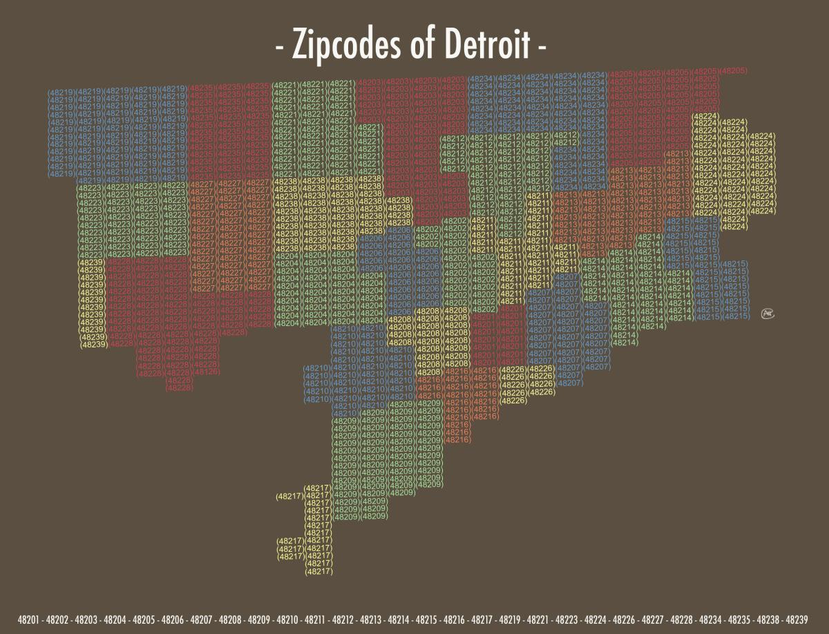 48223 Zip Code Map.Detroit Zip Kodas Zemėlapis Zip Code Zemėlapis Detroite Miciganas